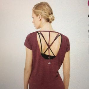 NWT Alo Yoga Camilla Short Sleeve Strappy Top
